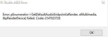 FL Studio Asio Error