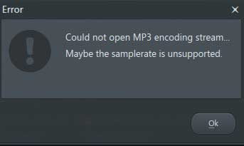 error could not open mp3 encoding stream