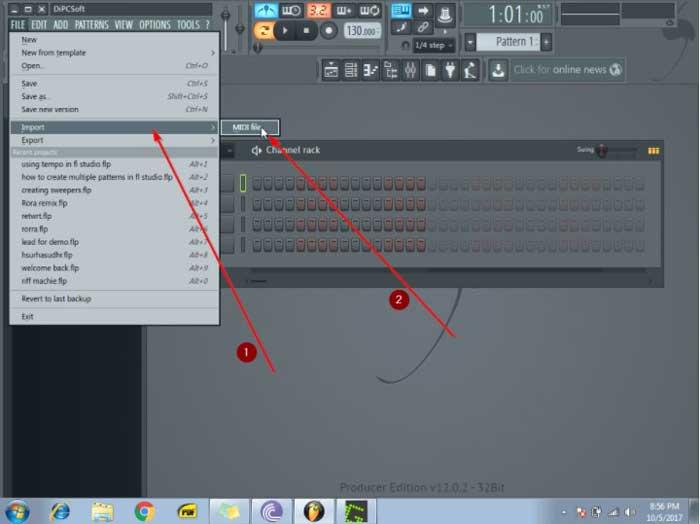 importar archivos MIDI en FL Studio